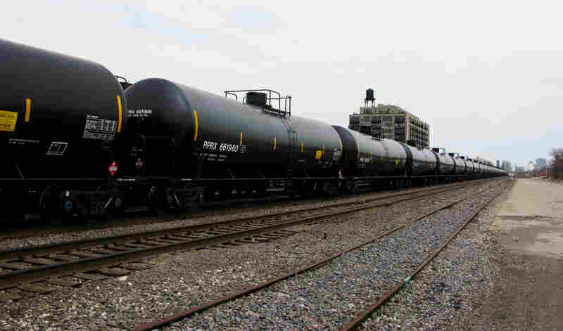 Oil trains sit idle on the BNSF Railway's tracks in Chicago's Pilsen neighborhood.