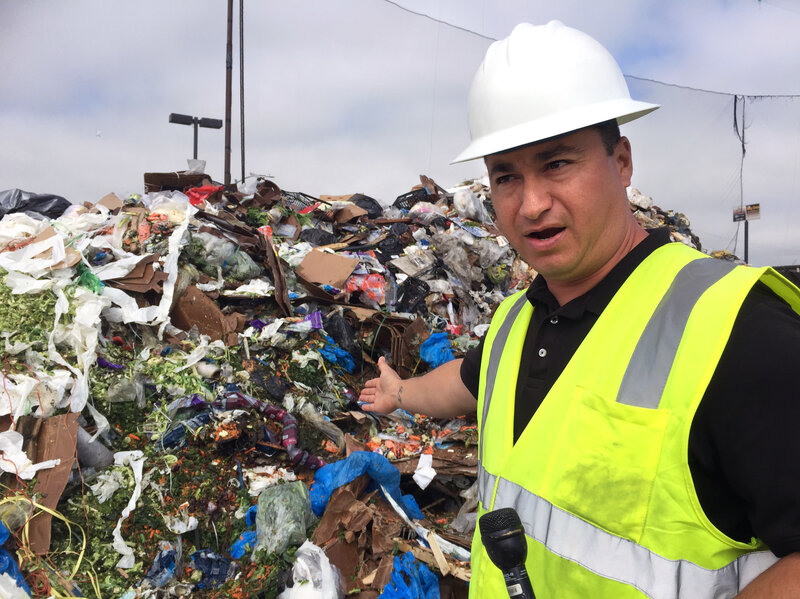 "Cesar Zuniga, operations manager at the Salinas Valley municipal dump in California, points to salad greens that still have two weeks before their sell-by date. ""Some loads ... look very fresh,"" Zuniga says. ""We question, wow, why is this being tossed?"""