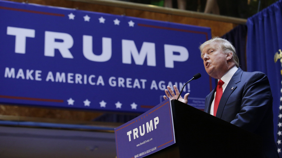 Real estate mogul and TV personality Donald Trump formally announces his bid for the 2016 Republican presidential nomination during an event at Trump Tower in New York. (Brendan McDermid/Reuters /Landov)