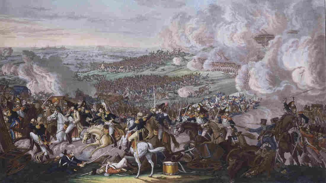 Napoleon Bonaparte flees the field of Waterloo, June 18, 1815.
