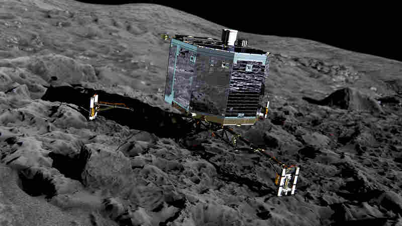 An artist impression shows Philae on the surface of comet 67P/Churyumov-Gerasimenko.