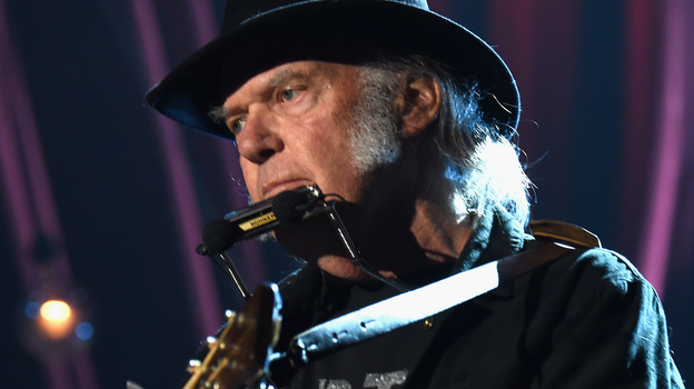 """Neil Young says he supports Bernie Sanders — and that Donald Trump shouldn't have used his song """"Rockin' in the Free World."""" He's seen here performing in Los Angeles earlier this year. (Getty Images for NARAS)"""