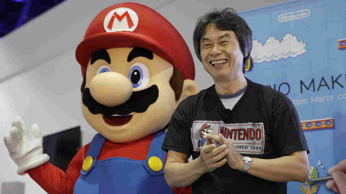 Video game designer Shigeru Miyamoto introduces Nintendo's Super Mario Maker at the Electronic Entertainment Expo in Los Angeles in 2014.