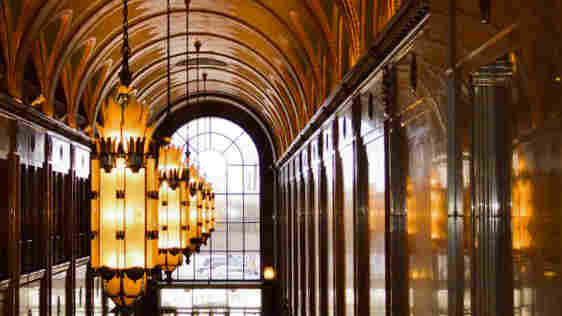 Detroit's iconic Fisher building has an ornate interior full of marble, bronze and art deco design.