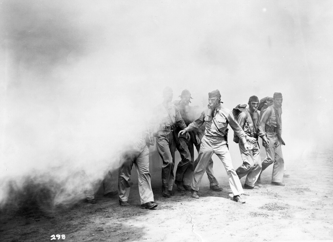 U.S. troops in Panama participate in a chemical warfare training exercise with smoke during World War II.