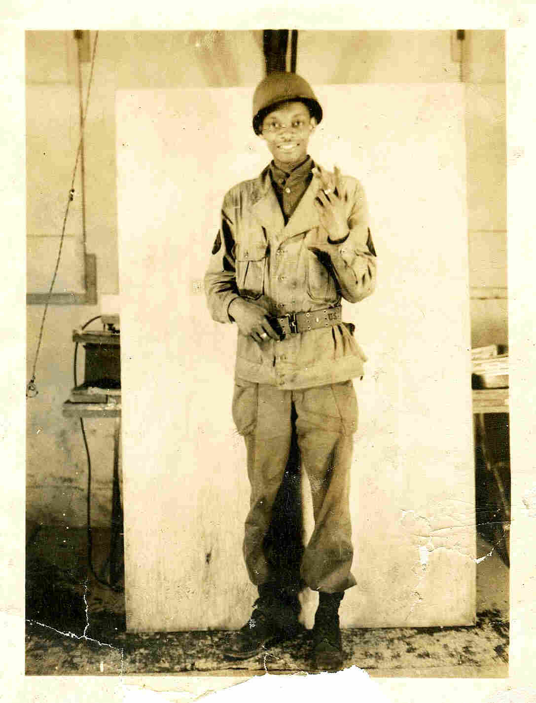 Rollins Edwards as a young soldier in 1945 at Clark Air Base in the Philippines.