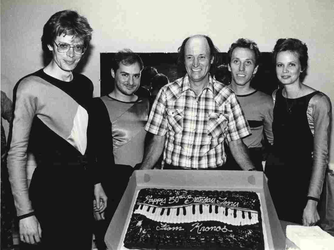 Composer Terry Riley (center) celebrates his 50th birthday in 1985 with his muses in the Kronos Quartet (from left) David Harrington, John Sherba, Hank Dutt and Joan Jeanrenaud.