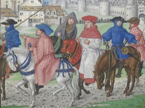 Pilgrims leaving Canterbury, from text of the end of the Prologue to The Canterbury Tales, by Geoffrey Chaucer.