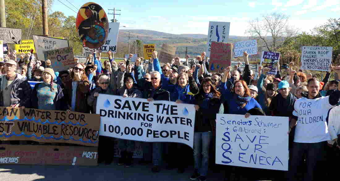 """At an October protest, hundreds of """"We Are Seneca Lake"""" members block the gates of Crestwood Midstream to protest against the expansion of fracked gas storage in the Finger Lakes."""