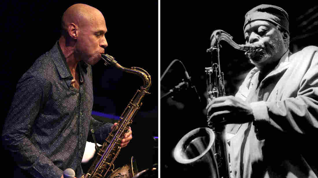 """Saxophonist Joshua Redman (left) performs on stage during the """"Jazz sous les pommiers"""" jazz festival on May 9, 2013 in Coutances, France. Dewey Redman (right) performs in St. Paul, Minn., in 2007."""