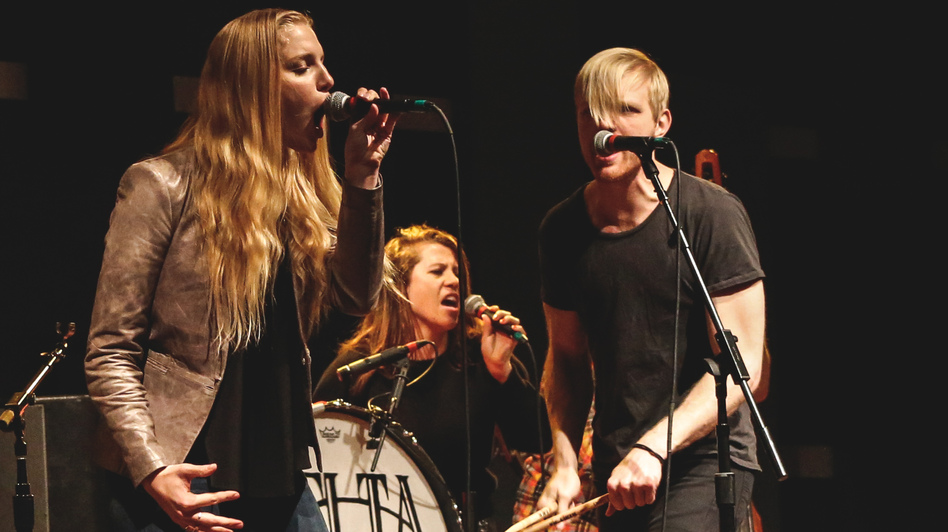 Delta Rae, seen here performing live at WXPN in Philadelphia, wrote a song in reaction to Wednesday's mass shooting in Charleston, South Carolina. (WXPN)