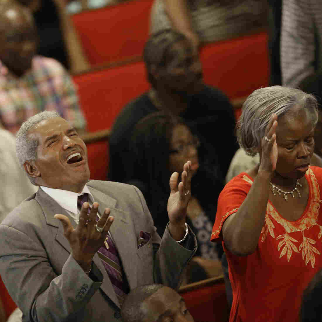 Mourners gathered at the Emanuel African Methodist Episcopal Church in Charleston, S.C. on Sunday.