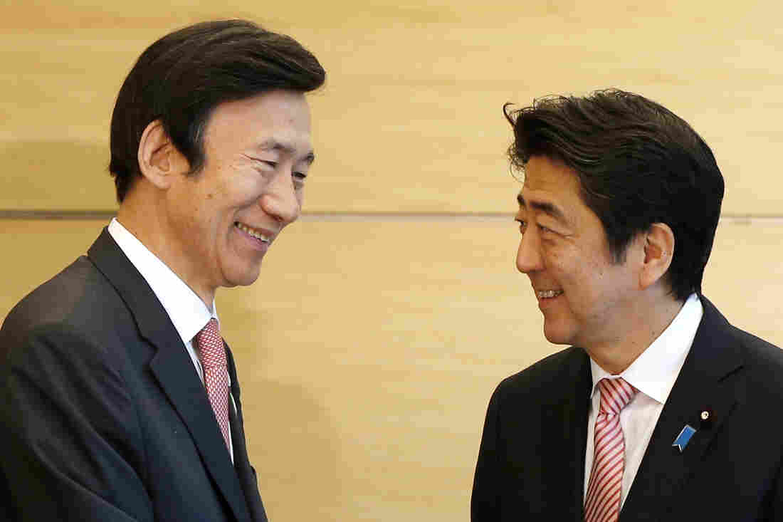 South Korean Foreign Minister Yun Byung-se (left) speaks with Japanese Prime Minister Shinzo Abe at their meeting in Tokyo. The two countries are marking the 50th anniversary of establishing relations. While leaders in both countries stressed the importance of the ties, a bitter history continues to strain the relationship.