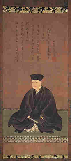 A portrait of Sen Rikyū by Tōhaku Hasegawa. Rikyū was a highly influential tea master in 16th century Japan.