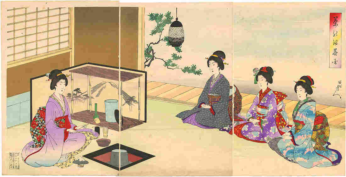 A woodblock print by the artist Toyohara Chikanobu depicts a tea ceremony during the reign of Japan's Emperor Meiji. Under Meiji, tea was included in many schools as part of etiquette training for women.