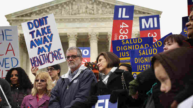Supporters of the Affordable Care Act rally in front of the U.S. Supreme Court in Washington, D.C., on March 4. The Supreme Court is considering the case of King v. Burwell, which could determine the fate of health care subsidies for millions of people.