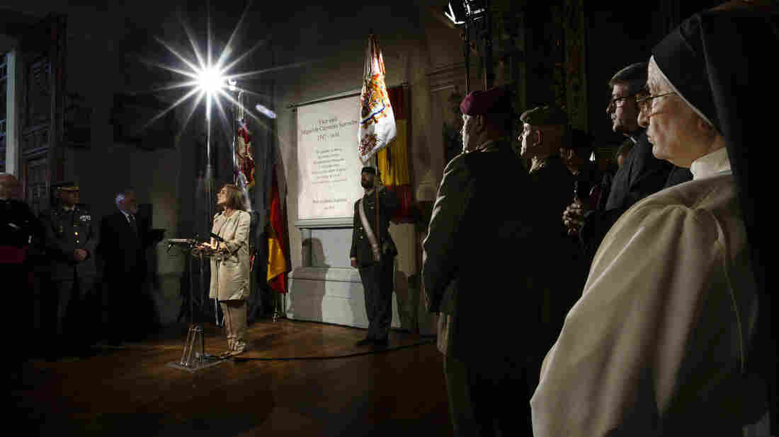 Madrid's outgoing mayor, Ana Botella, speaks during a June 11 ceremony unveiling a funeral monument holding the remains of Spanish writer Miguel de Cervantes in Madrid, on June 11. The formal burial comes nearly 400 years after his death.