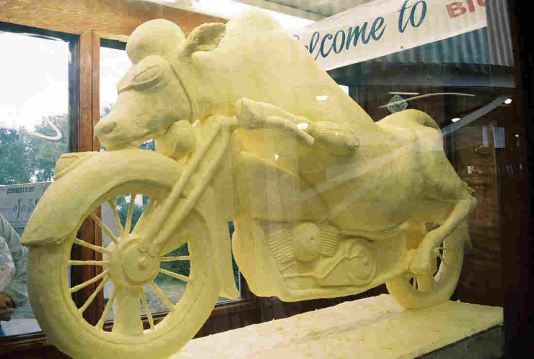 Cow on a motorcycle, by Jim Victor and Marie Pelton