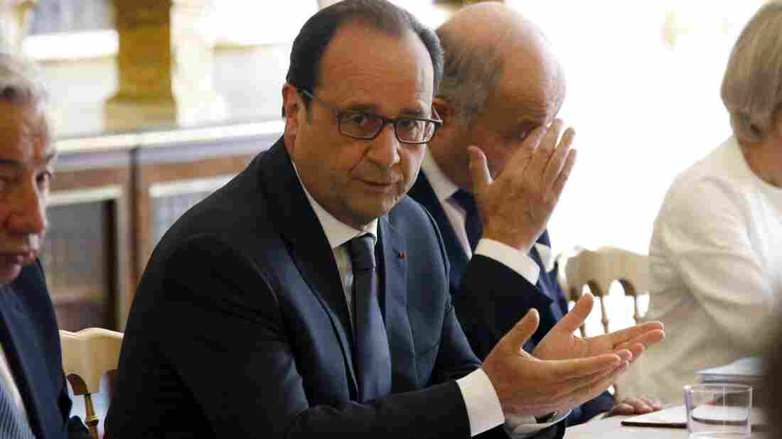 French President Francois Hollande leads a meeting about new WikiLeaks allegations of U.S. spying on French presidents.