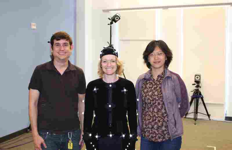 Each member of ML2's deaf team brings together a specific area of discipline. Jason Lamberton (from left) is the tech consultant, Melissa Malzkuhn is the director and Yiquiao Wang, the lab's artist in residence, designs the art for all the storybook apps.
