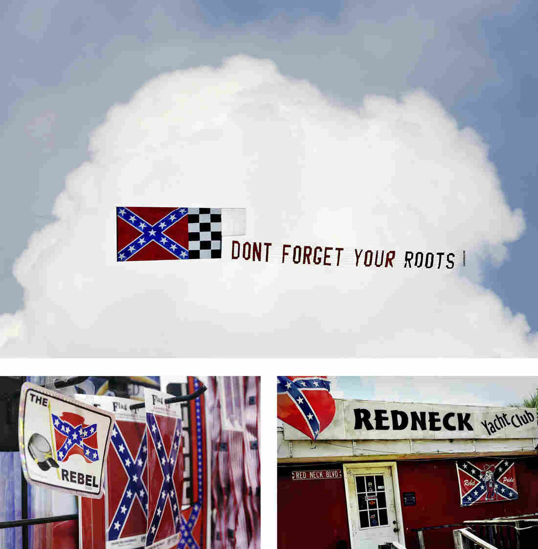 (Top) A NASCAR event in Darlington, S.C., in 2007. (Left) A display at Arkansas Flag and Banner in Little Rock, Ark. (Right) The entrance to the Redneck Yacht Club in Yulee, Fla.