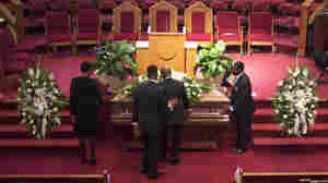 The casket holding Ethel Lance, who was killed during the shooting at Emanuel AME Church, is on view before her funeral at the Royal Missionary Baptist Church in North Charleston, S.C., on Thursday.