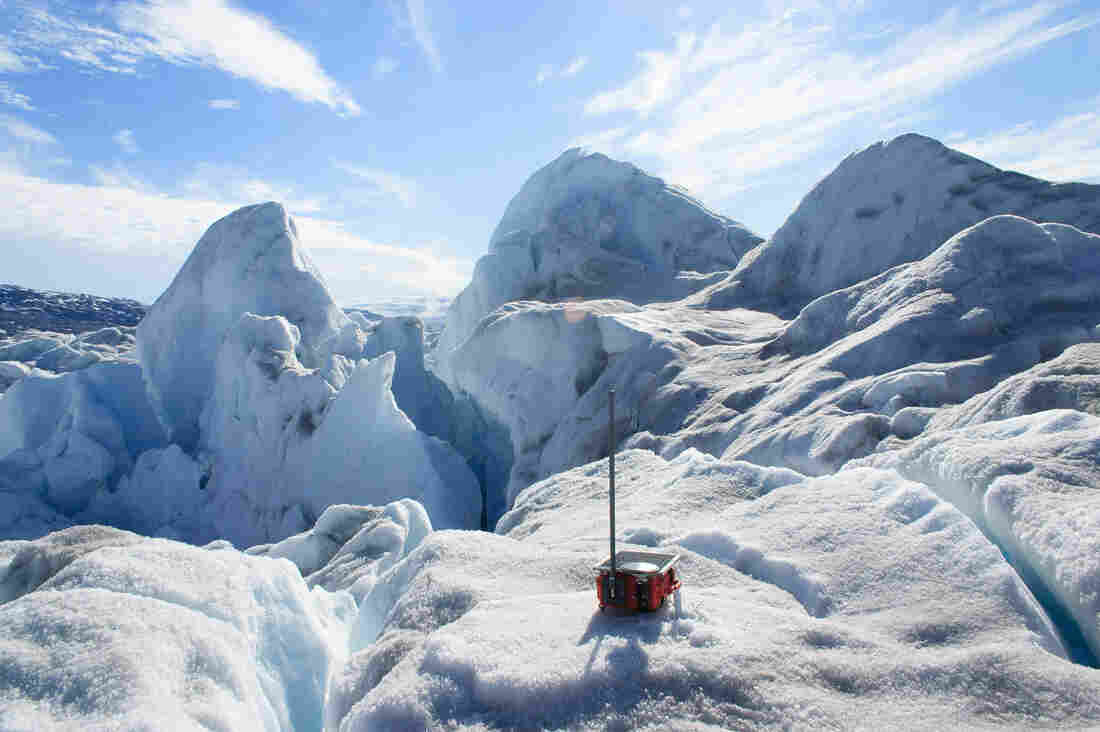One of the 20 GPS sensors deployed on Greenland's Helheim Glacier to track its movement.