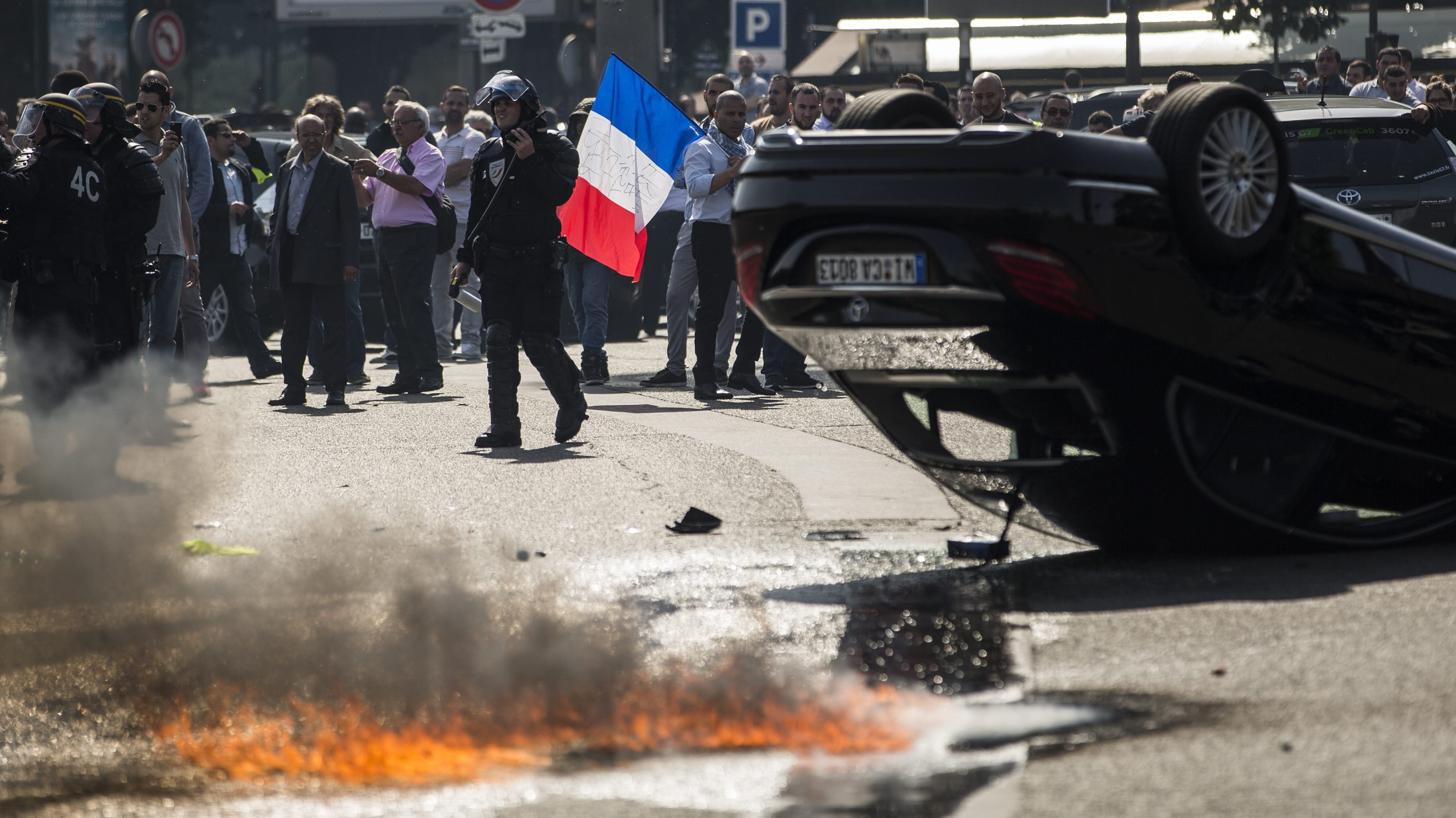 Thousands Of Cabdrivers Clog France's Roads To Protest Uber