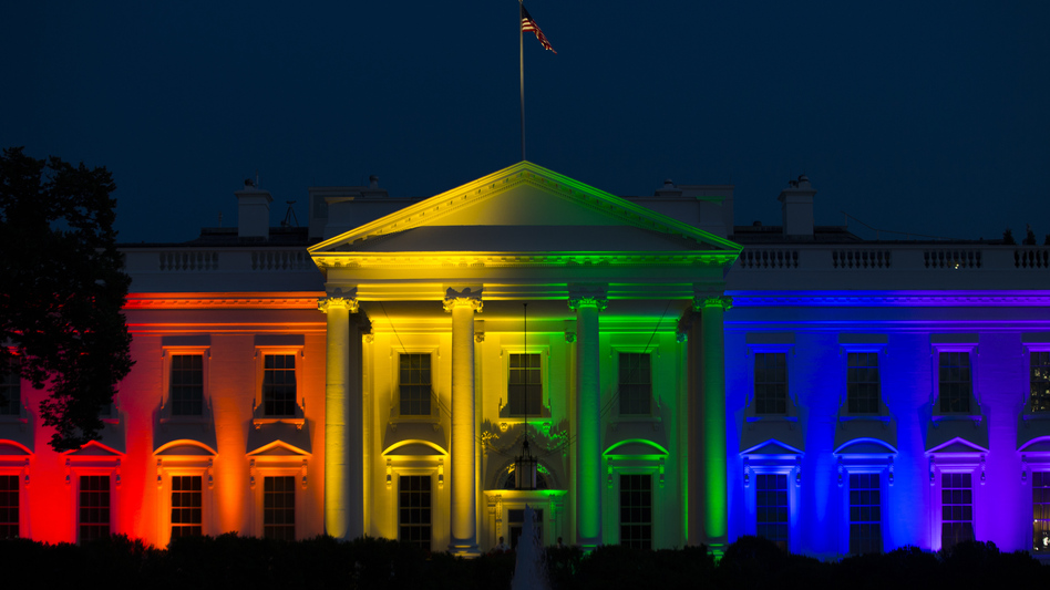 The White House is lit up in rainbow colors in commemoration of the Supreme Court's ruling to legalize same-sex marriage. (Evan Vucci/AP)