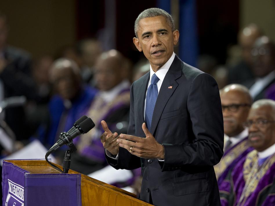 President Obama speaks during services honoring the life of the Rev. Clementa Pinckney on Friday. (Carolyn Kaster/AP)