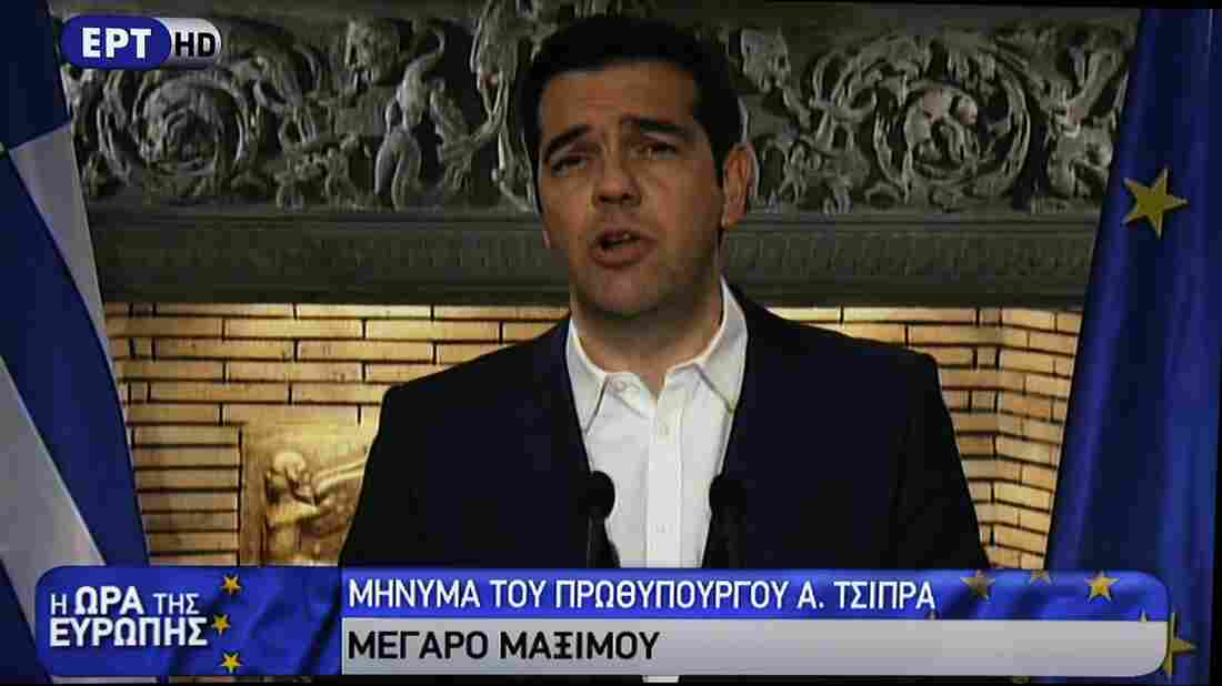 On state TV (ERT), Greece's Prime Minister Alexis Tsipras  announced a referendum for July 5 on a bailout deal with creditors.