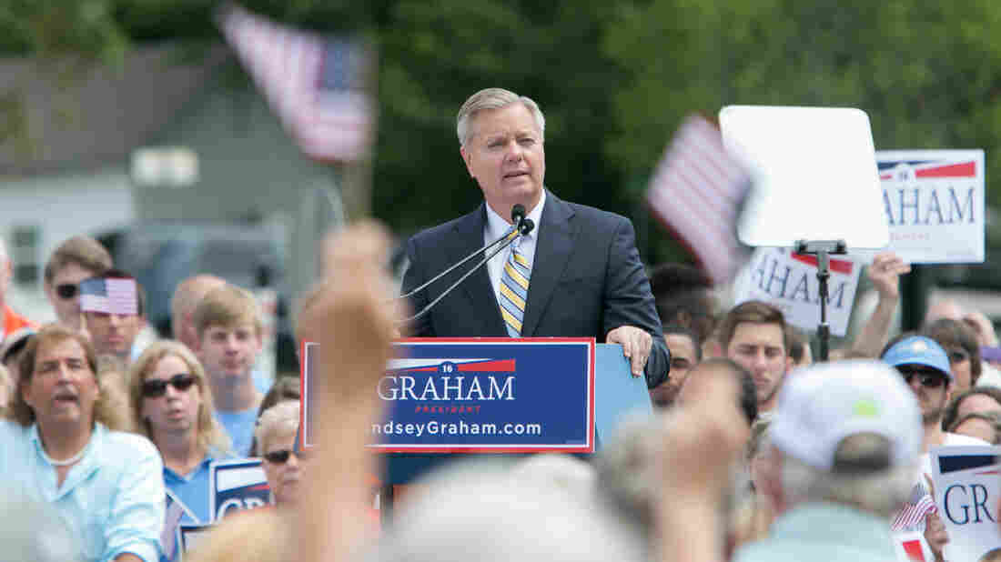 Sen. Lindsey Graham, R-S.C. announces his candidacy for president in Central, S.C. on June 1.