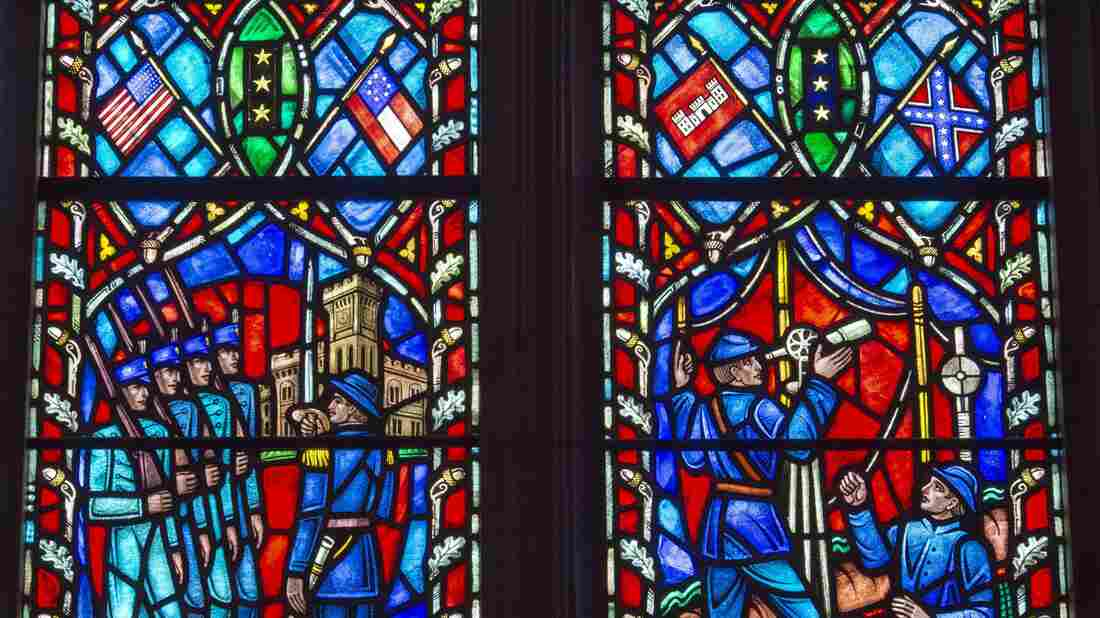 A glass window at Washington National Cathedral in Washington, D.C., shows Confederate Gen. Robert E. Lee. The dean of the cathedral has called for its removal.