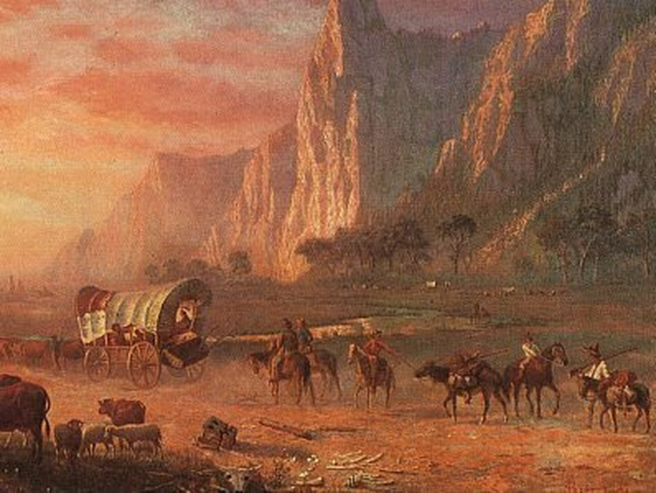 The Oregon Trail looms large in the American imagination. But journalist Rinker Buck and his brother Nick set out to see what the experience was really like — miseries and all. (Albert Bierstadt/Public Domain)