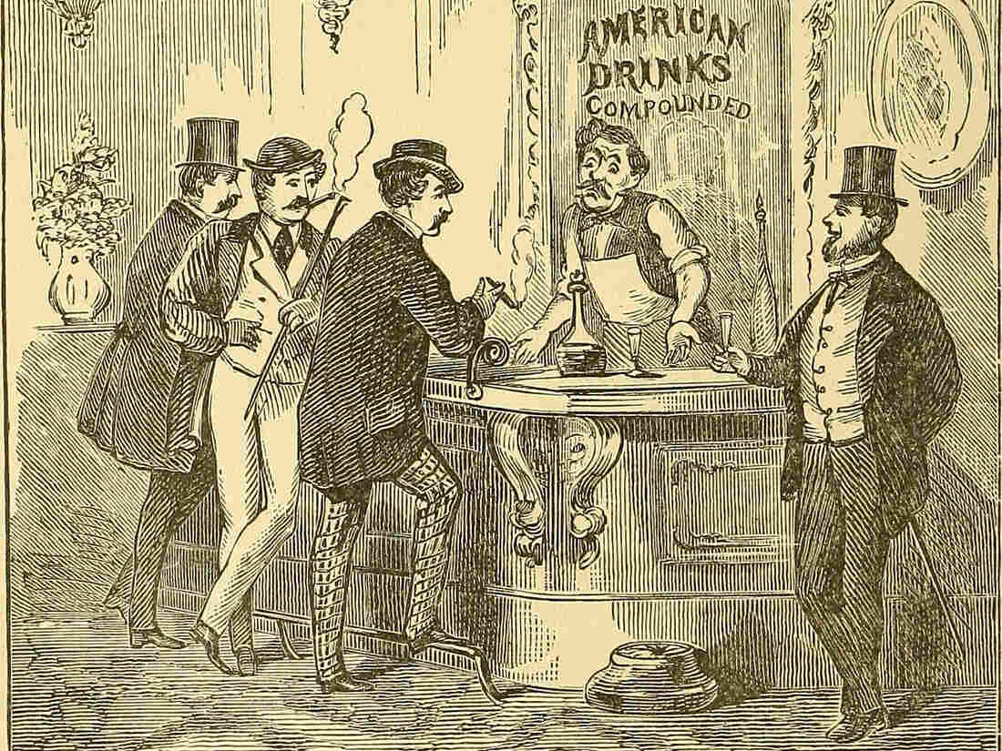 An illustration from The Innocents Abroad by Mark Twain, published in 1897. Between the 1860s and 1920, when Prohibition went into effect, American bartending came into its own.