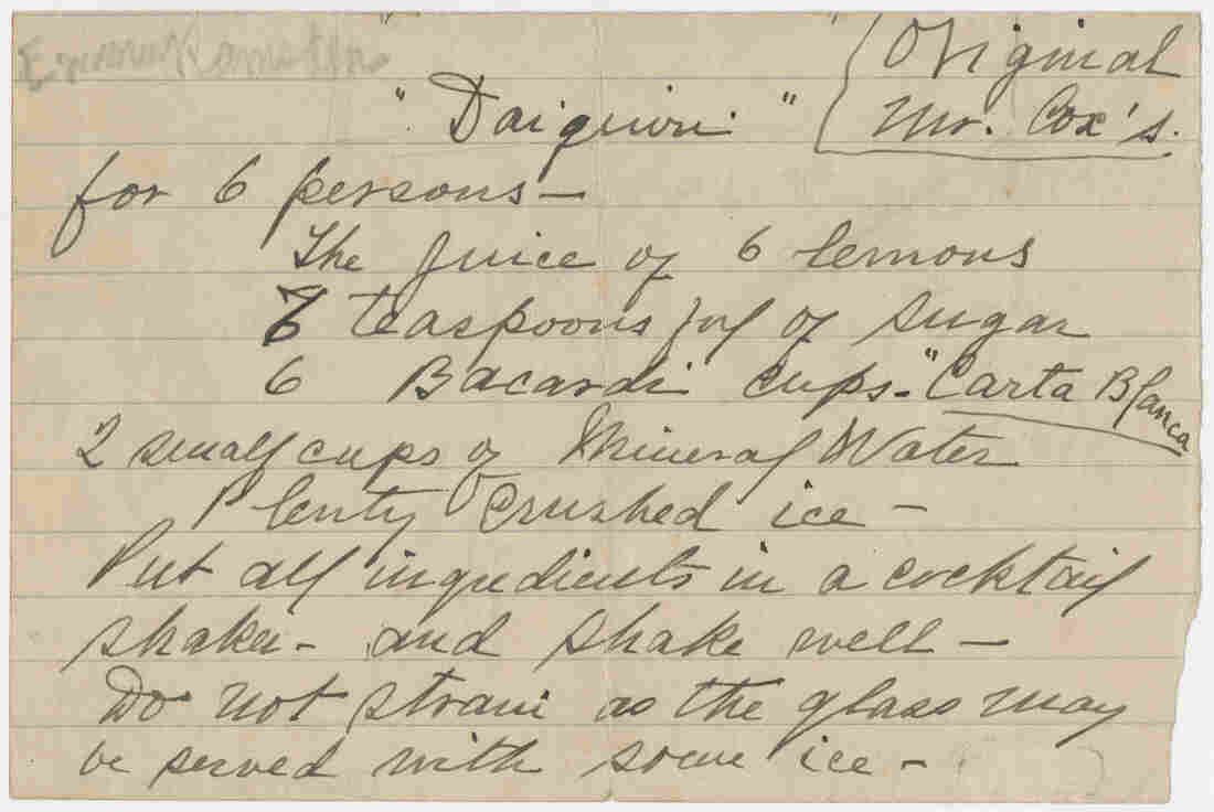 """""""For 6 persons"""": The original daiquiri recipe, as scribbled by Jennings Cox."""