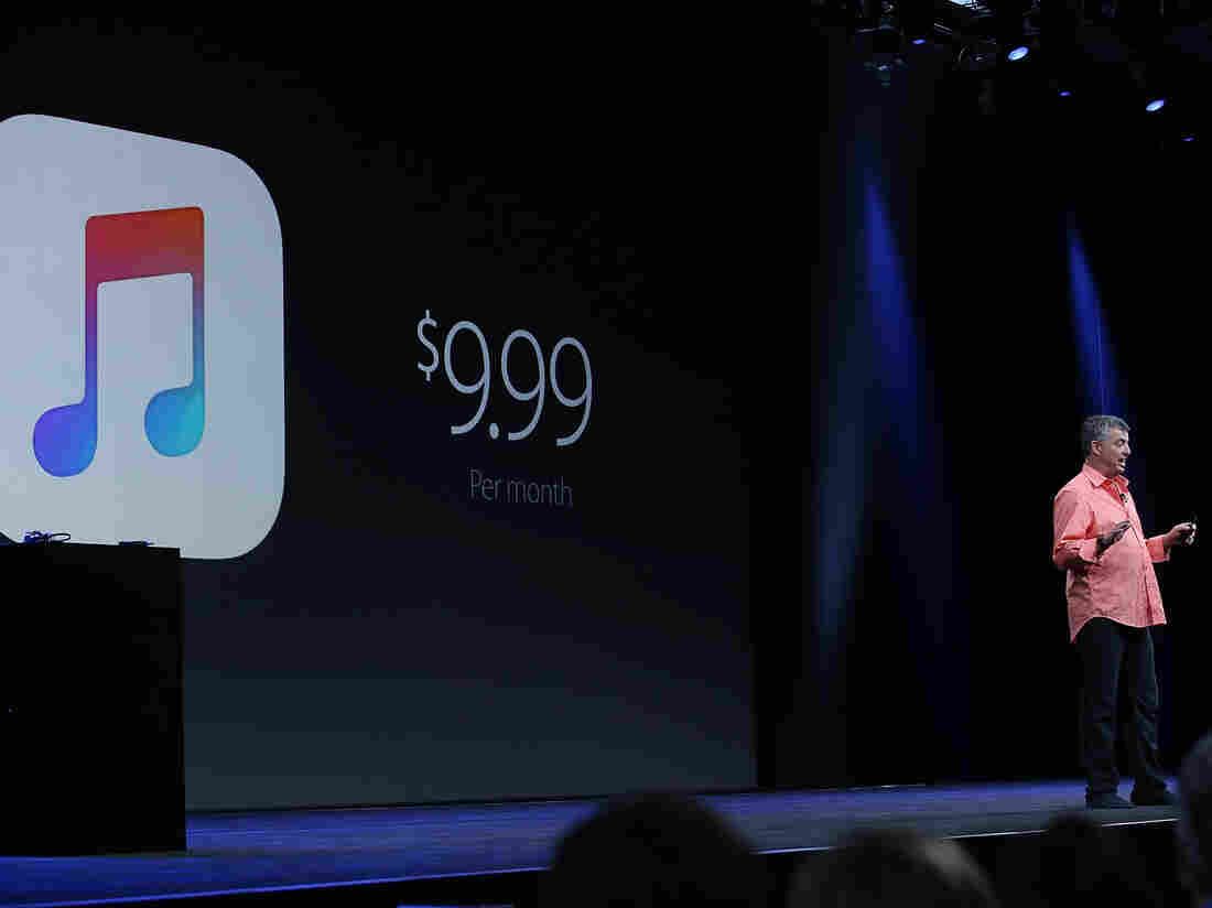 Apple's senior vice president of Internet Software and Services Eddy Cue speaks about Apple Music during the keynote at the annual developers conference.