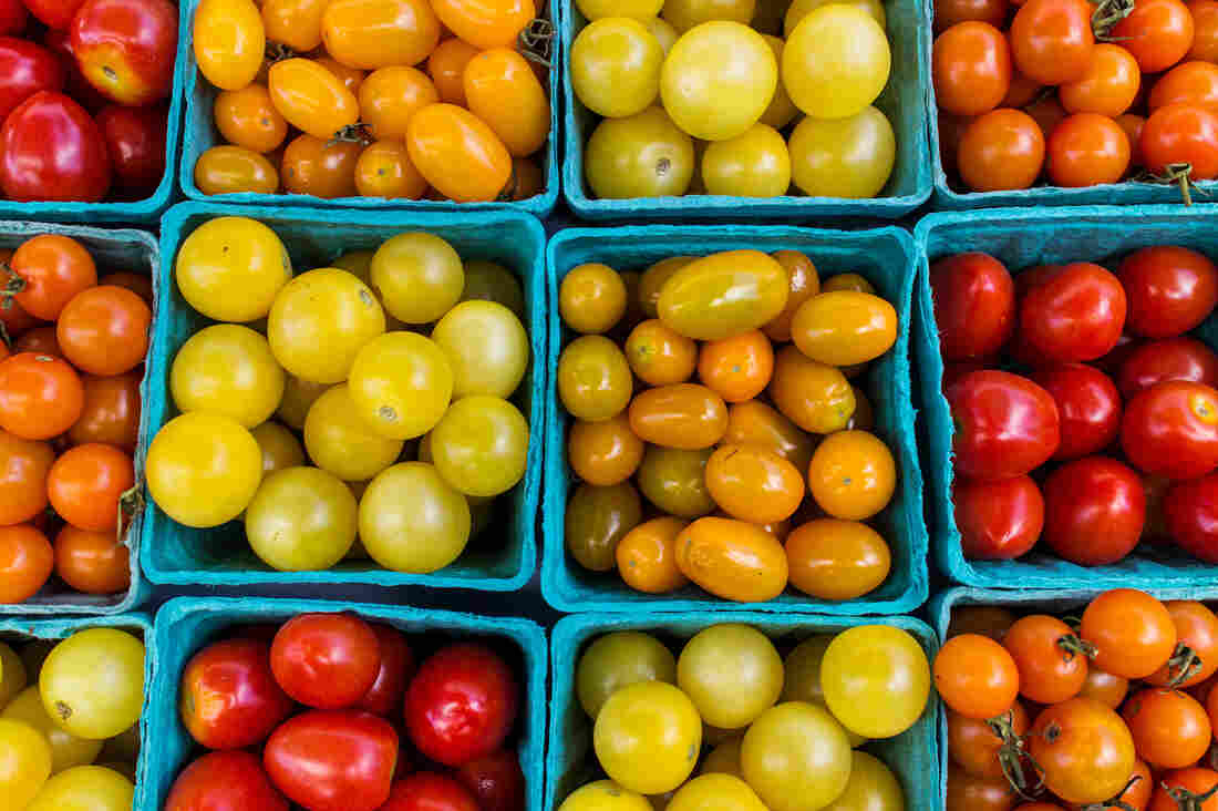 Tomatoes at Union South Farmers Market in Madison Wisconsin.