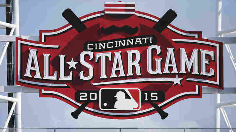 A giant All-Star Game sign at Great American Ballpark during a baseball game between the Cincinnati Reds and Washington Nationals, on May 30 in Cincinnati.