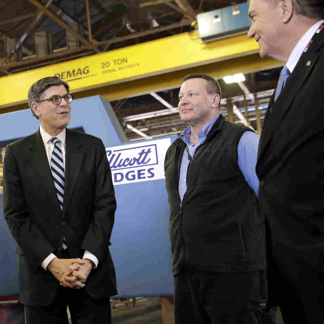 Treasury Secretary Jacob Lew (center) speaks with (from left) Sen. Ben Cardin, D-Md., Ellicott Dredges GM Craig Murdock and CFO Joseph Wendel during a tour of the company's manufacturing facility in March. Lew was on hand to promote investment in American infrastructure. The company has utilized the Export-Import Bank's services.