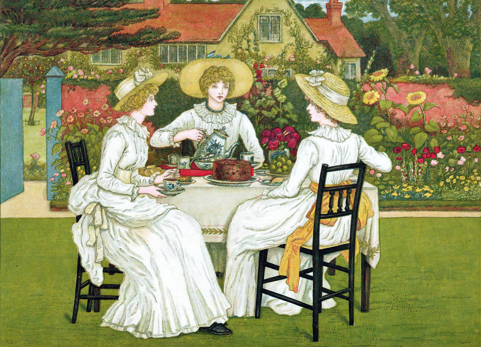 <em>Afternoon Tea</em>, 1886. Chromolithograph after Kate Greenaway. If you're looking for finger sandwiches, dainty desserts and formality, afternoon tea is your cup. (Print Collector/Getty Images)
