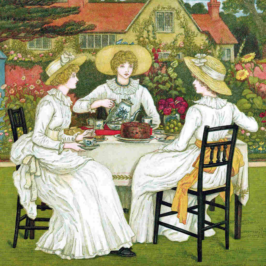 Afternoon Tea, 1886. Chromolithograph after Kate Greenaway. If you're looking for finger sandwiches, dainty desserts and formality, afternoon tea is your cup.