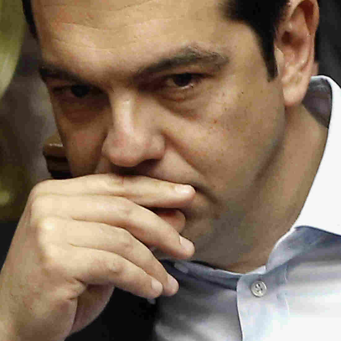 Greece's Prime Minister Alexis Tsipras attends an emergency Parliament session for the government's proposed referendum in Athens on June 27.