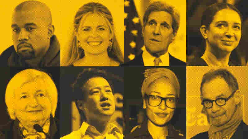 Check out our updated words of wisdom for new graduates, now including: (top, from left) Kanye West, Jennifer Lee, John Kerry, Maya Rudolph; (bottom, from left) Janet Yellen, Victor Hwang, Zadie Smith and David Carr.