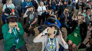 Cardboard Google goggles whisk viewers into a virtual reality world.