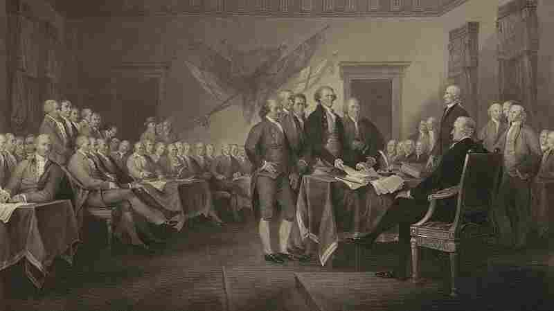 "Artist John Trumbull's ""Declaration of Independence."" It can be seen in the rotunda of the U.S. Capitol."