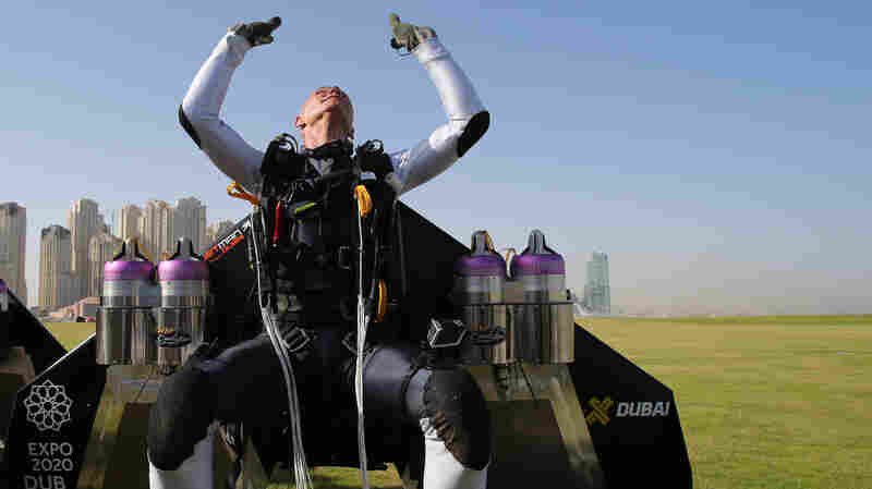 Former Swiss pilot Yves Rossy, known as Jetman, is the first man in the world to fly a jet-fitted wing.