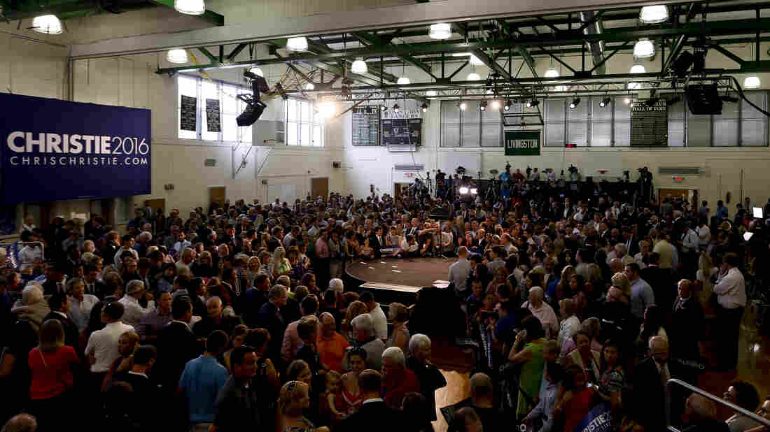 New Jersey Gov. Chris Christie made his announcement in the gymnasium of his alma mater, Livingston High School.