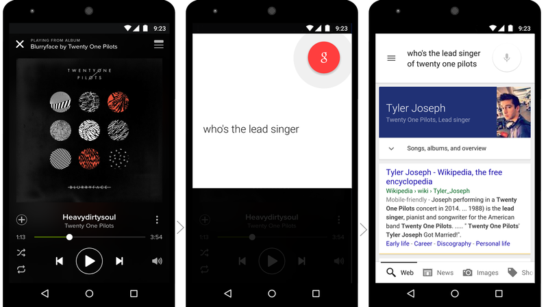 "Google's upcoming ""now on tap"" feature will let smartphone users ask a question within an app like Spotify."