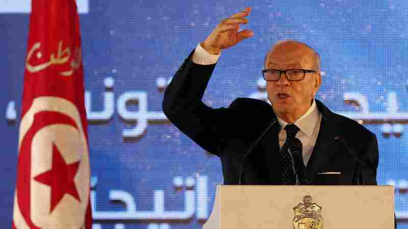 Tunisian President Beji Caid Essebsi speaks during a forum on strategic planning, in Tunis, in June. Essebsi has declared a state of emergency his office says is aimed at dealing with the threat of Islamist extremists.